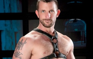Model in Leather Harness